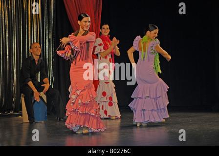 Flamenco dancers at Puerto Calera in Lanzarote in the Canary islands - Stock Photo