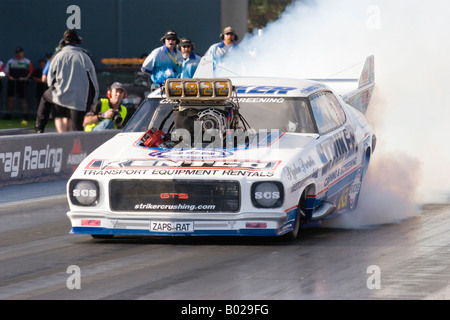 Multiple Australian Top Doorslammer drag racing Champion, John Zappia, in action at the Perth Motorplex in Western - Stock Photo