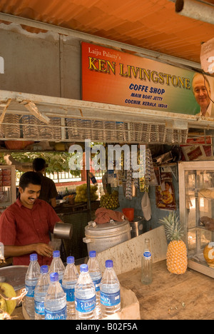 Laiju Palatty's Ken Livingstone Coffe Shop, Main Boat Jetty, Cochin, Kerala, India - Stock Photo