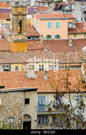 a view of Old Town of Nice from hilltop - Stock Photo