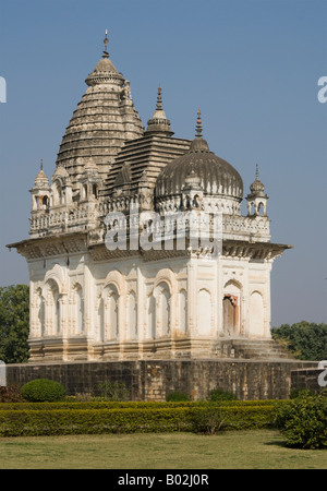Shiva Temple in the Western Group of Temples in Khajaraho, India - Stock Photo