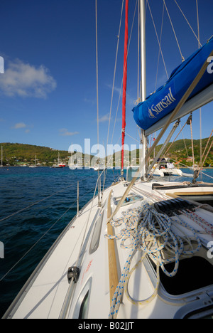 Yacht at anchor in Admiralty Bay Bequia - Stock Photo
