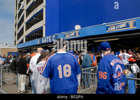 Shea Stadium in Flushing Queens in NYC at the last opening game of the New York Mets at Shea Stadium - Stock Photo