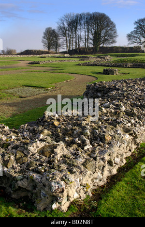 The site of the original Salisbury Cathedral at Old Sarum, Salisbury, Wiltshire, England. - Stock Photo