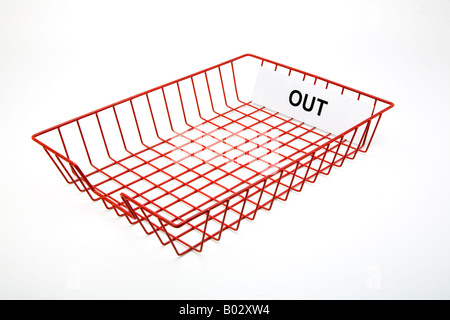 empty red wire mesh office post out tray for out going mail - Stock Photo