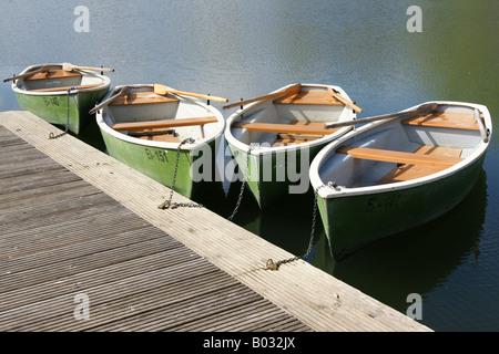 Rowing boats at footbridge / Ruderboote am Steg - Stock Photo