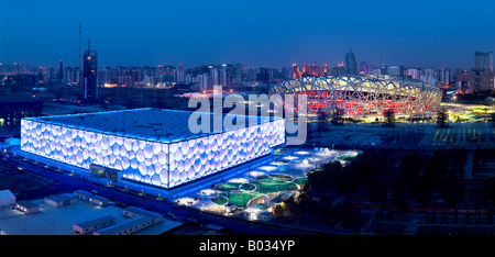 Birds Nest National Stadium and Water Cube National Aquatics Stadiums, 2008 Olympic Stadiums, Beijing. - Stock Photo