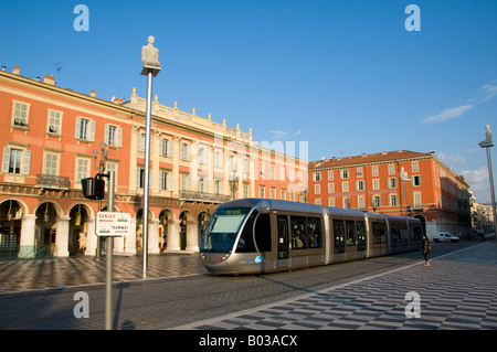 A tram train in Nice City Centre, South France - Stock Photo