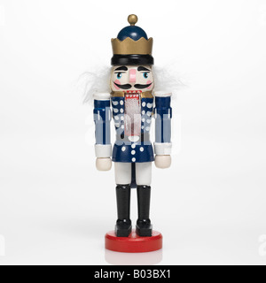 wooden nutcracker on white background - Stock Photo