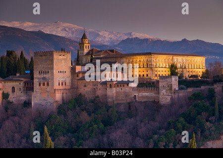 Granada Cathedral, 16th century, at dusk in the City of Granada, Province of Granada, Andalusia (Andalucia), Spain, - Stock Photo