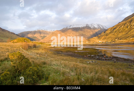 Early evening light over Loch Duich Scotland UK - Stock Photo