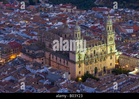 Cathedral of Jaen at dusk in the City of Jaen, Province of Jaen, Andalusia (Andalucia), Spain, Europe. - Stock Photo