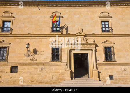 Facade of Parador de Ubeda in Plaza de Vazquez de Molina, Town of Ubeda, UNESCO World Heritage Site, Province of - Stock Photo