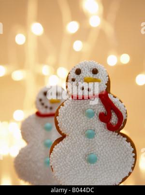 Snowman Gingerbread Cookies - Stock Photo