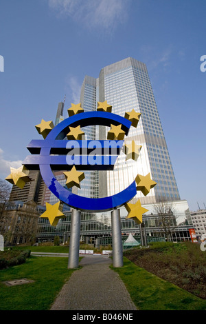 Frankfurt Banking District with Euro Symbol, German Central bank, germany - Stock Photo