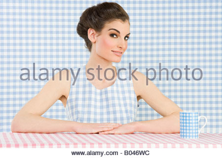 Woman and checker pattern - Stock Photo