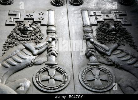 Close up of doors of Bank of England London - Stock Photo