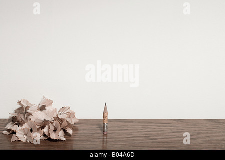 Chewed pencil and pencil shavings - Stock Photo