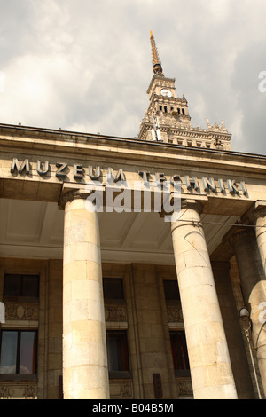 Warsaw Poland the Muzeum Techniki Techical Museum is located at the base of the Palace of Culture and Science - Stock Photo