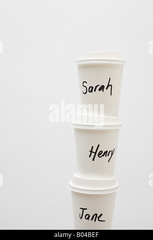 Names on paper cups - Stock Photo