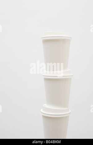 Stack of three paper cups - Stock Photo