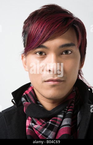 Young japanese man with dyed hair - Stock Photo