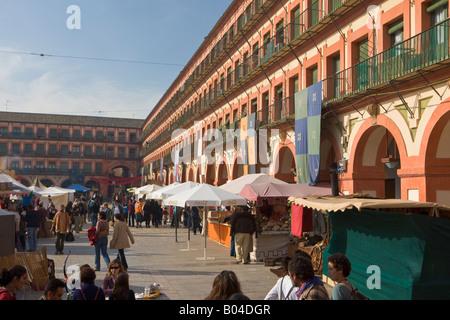 Market stalls at Plaza de la Corredera, City of Cordoba, UNESCO World Heritage Site, Province of Cordoba, Andalusia - Stock Photo