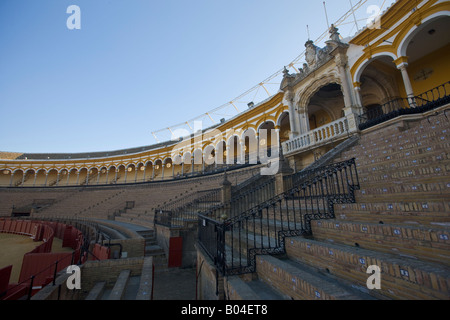 Seating surrounding the arena at Plaza de Toros de la Maestranza (also La Real Maestranza - Bullring) in the El - Stock Photo