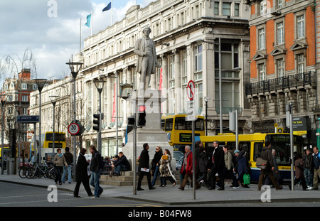 Dublin City Centre O Connell Street Statue of Sir John Gray Stands outside the Famous Clerys Department Store - Stock Photo