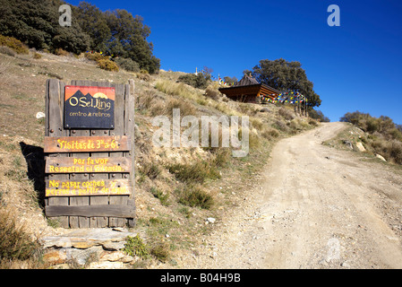 O Sel Ling Buddhist Retreat near the village of  Bubion, Las Alpujarras, Granada Province, Spain - Stock Photo