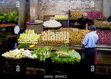 Fresh vegetables on sale in Port Louis market, Mauritius - Stock Photo