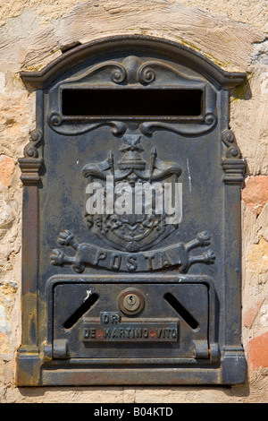 Letter box in the Town of Monteriggioni, Province of Siena, Region of Tuscany, Italy, Europe. - Stock Photo
