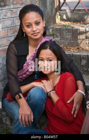 NEWARI SISTERS KATHAMANDU NEPAL MR - Stock Photo