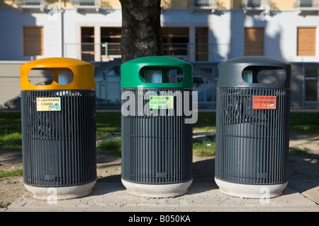 Recycle and garbage bins along the Lake Garda waterfront in the town of Torbole, Province of Trento, Trentino-Alto - Stock Photo