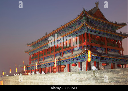 Watchtower On City Wall At Dusk, Xian, China - Stock Photo