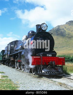 Kingston Flyer Steam Engine, Fairlight station, Otago, New Zealand - Stock Photo