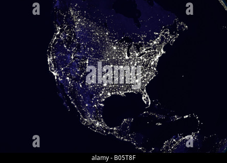 satellite image of planet earth North America at night - Stock Photo