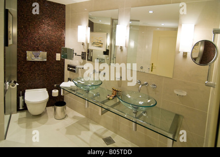 Modern Bathroom Horizontal Wide Angle Interior View Of A Hotel With An Ultra Decor