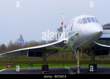 British Airways Concorde G-BOAC on Static Display in Viewing Area at Manchester Ringway Airport England United Kingdom - Stock Photo
