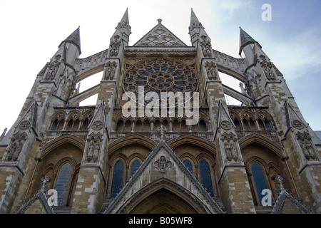 Looking up at the North Entrance of Westminster Abbey - Stock Photo