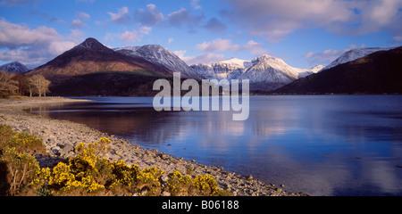 The Pap of Glencoe and Bidean nam Bian viewed across Loch Leven, Lochaber, Highland, Scotland, UK. - Stock Photo