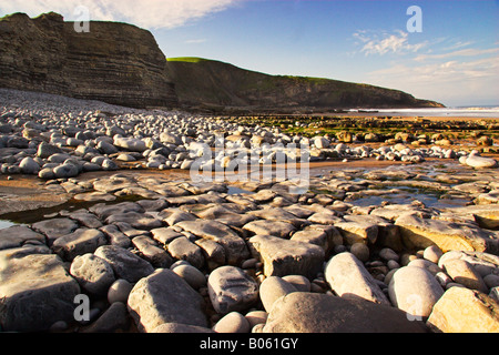 Crystalline Rock formations On Southerndown Beach - Stock Photo