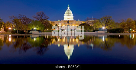 United States Capitol building Washington DC with reflection on pool High resolution panorama - Stock Photo