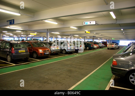 View of cars parked in multistorey car park in Southampton regional airport - Stock Photo