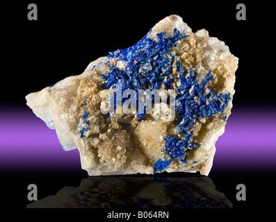 Linarite on Barite Blanchard Mine Bingham Socorro County New Mexico - Stock Photo