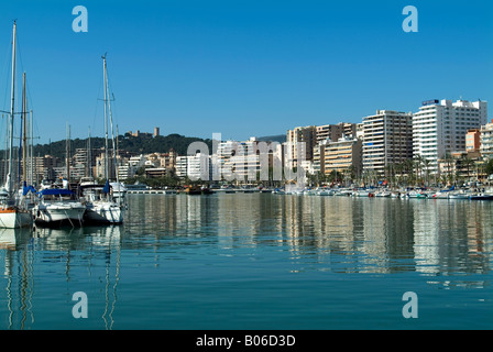 palma de mallorca waterfront with castell bellver on hilltop stock photo