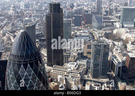 Aerial view west of 30 St Mary Axe The Gherkin National Westminster Tower 99 Bishopsgate urban offices City of London - Stock Photo