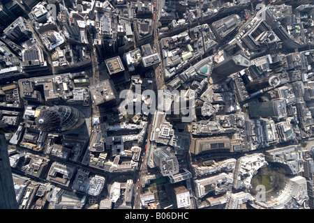 Aerial view south of 30 St Mary Axe The Gherkin National Westminster Tower 99 Bishopsgate Lloyd s building Finsbury - Stock Photo