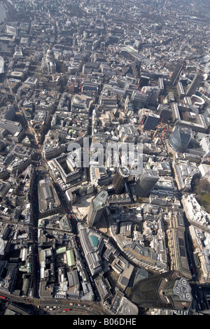 Aerial view west of National Westminster Tower Stock Exchange Bank of England St Pauls Cathedral urban offices City - Stock Photo
