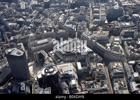 Aerial view south of Stock Exchange Tower Royal Exchange Bank of England No 1 Poultry City of London EC2 EC4 England - Stock Photo